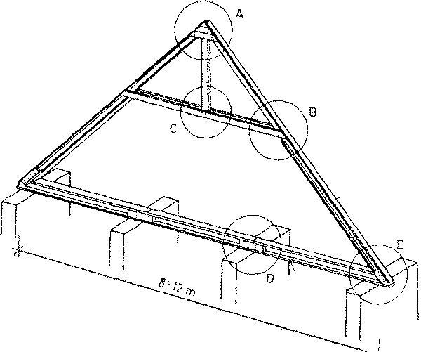 Sbíjený hambálkový krov s podrobnostmi
