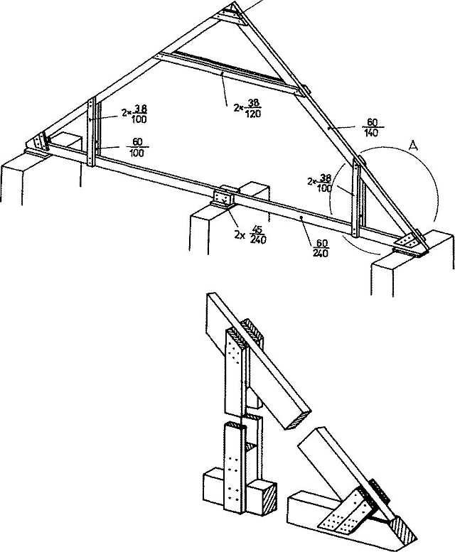 Sbíjený fošnový hambálkový krov s podrobnostmi
