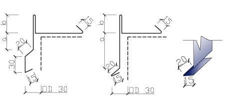 Příklady tvarů závětrných lišt