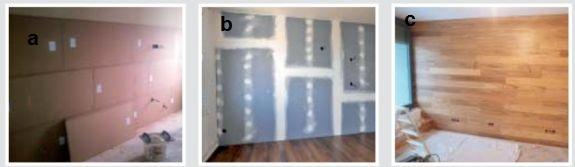 Montáž desek, podklad pro závěrečnou malbu, finální dřevěný obklad na stěně, fotozdroj Ciur a.s.