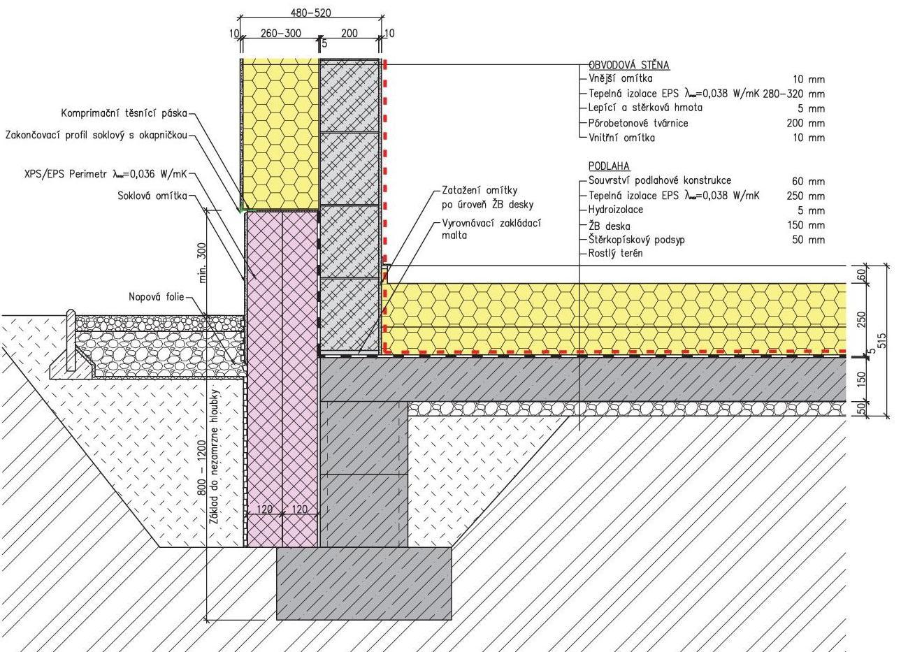 Obvodová stěna z masivní pórobetonové konstrukce u základu a izolací nad základovou deskou