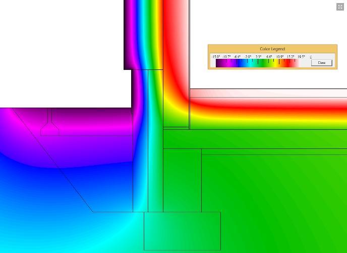 Obvodová stěna z masivní pórobetonové konstrukce u základu a izolací nad základovou deskou - termovize