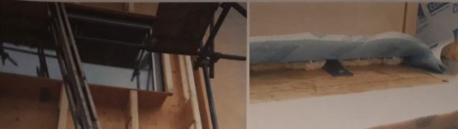 Dřevěný kastlík a navazující žebříková konstrukce a připojení okna na dřevěný kastlík pomocí pásové kotvy