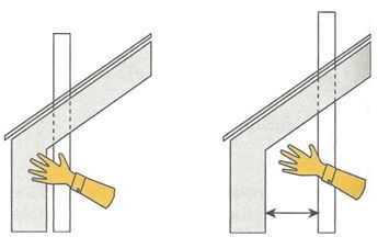 Grada, Příklady umístění prostupu potrubí šikmou střechou