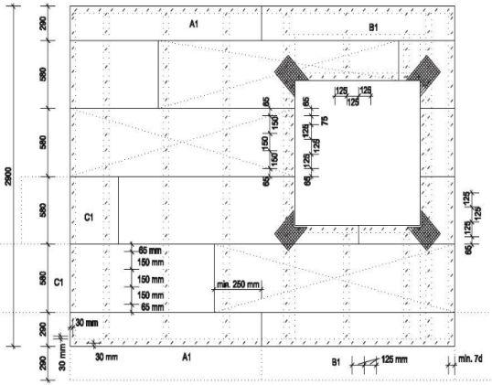 Pavatex, Schéma kla dení desek rozměru méně než 6 00 mm na nosnou konstrukci včetně rozmístění spon