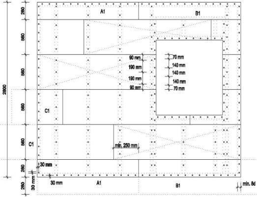 Pavatex, Schéma kla dení desek rozměru méně než 600 mm na nosnou konstrukci včetně rozmístění vrutů