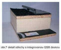 Puren, zateplení nad krokvemi, plechová drážková krytina, detail střechy s integrovanou QSB deskou
