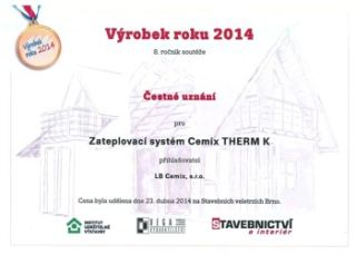 Cemix, Cemix THERM K, Ocenění Výrobek roku 2014
