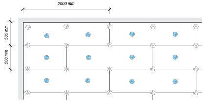 Heraklith, Schéma rozmístění desek a hmoždinek u stropu při použití zatloukacích kotev H1 eco, TID-T 8/60 L a DMH