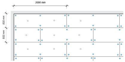 Heraklith, Schéma rozmístění desek a kotev u stropu při použití šroubů DDS