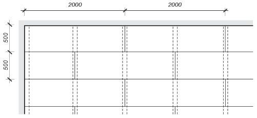 Umístění roštu z lišt a desek