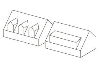 Grada, Zjednodušení tvaru budovy ve prospěch jednoduššího řešení HVV. Příklad šikmé střechy s vikýři