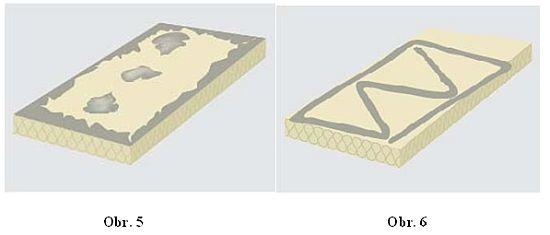 Nanášení lepící hmoty se provádí ručně nebo strojně