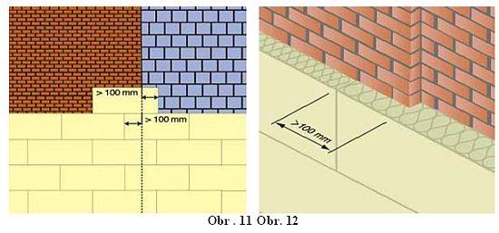 Spáry mezi deskami a lamelami nesmí být provedeny v místě trhlin v podkladu, na rozhraní dvou různorodých materiálů v podkladu a v místě změny tloušťky izolantu z důvodu rozdílné tloušťky konstrukce