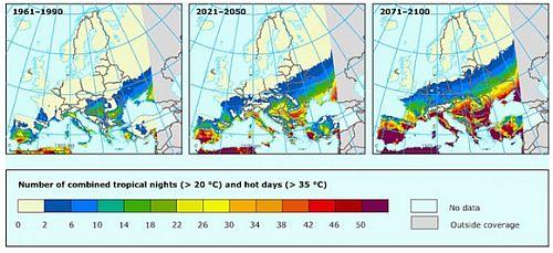 Průměrný počet tropických dnů a nocí v Evropě, zdroj: Adaptační strategie EU na klimatickou změnu