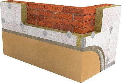 Obvodová zděná stěna s kontaktní fasádou_zateplená izolací z minerální vlny SMARTwall s nástřikem, zdroj: Knauf Insulation
