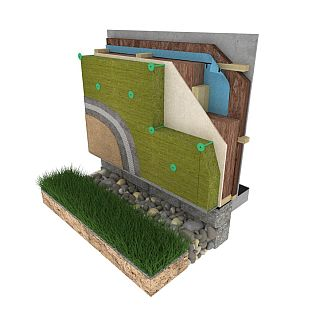 Systém pro dřevostavbu od Knauf Insulation _difúzně otevřená konstrukce Naturdom s kontaktním zateplením a omítkou, zdroj: Knauf Insulation