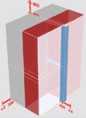 Obrázek modelu  charakteristického výseku  (plocha vycházející  na jednu diagonálu)  vytvořeném v programu  KI Real, zdroj: Knauf Insulation