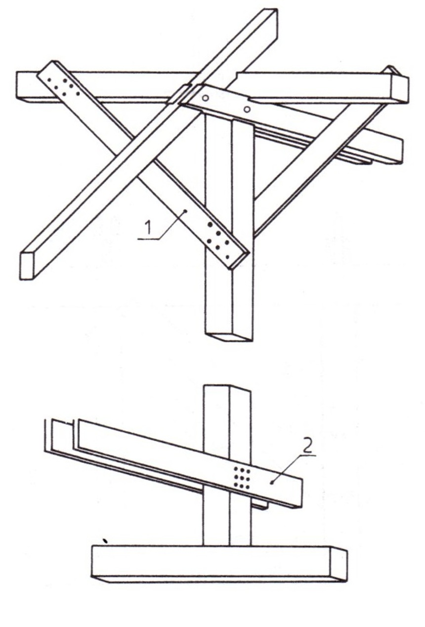 Detail krovu: 1 - prkna místo pásků, 2 - prkna místo kleštin