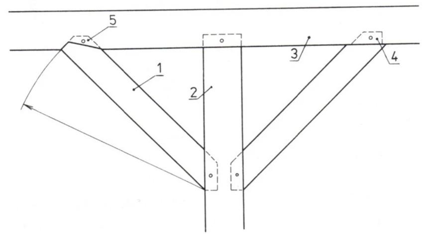 Podepření vaznice sloupkem a zavětrování pásky