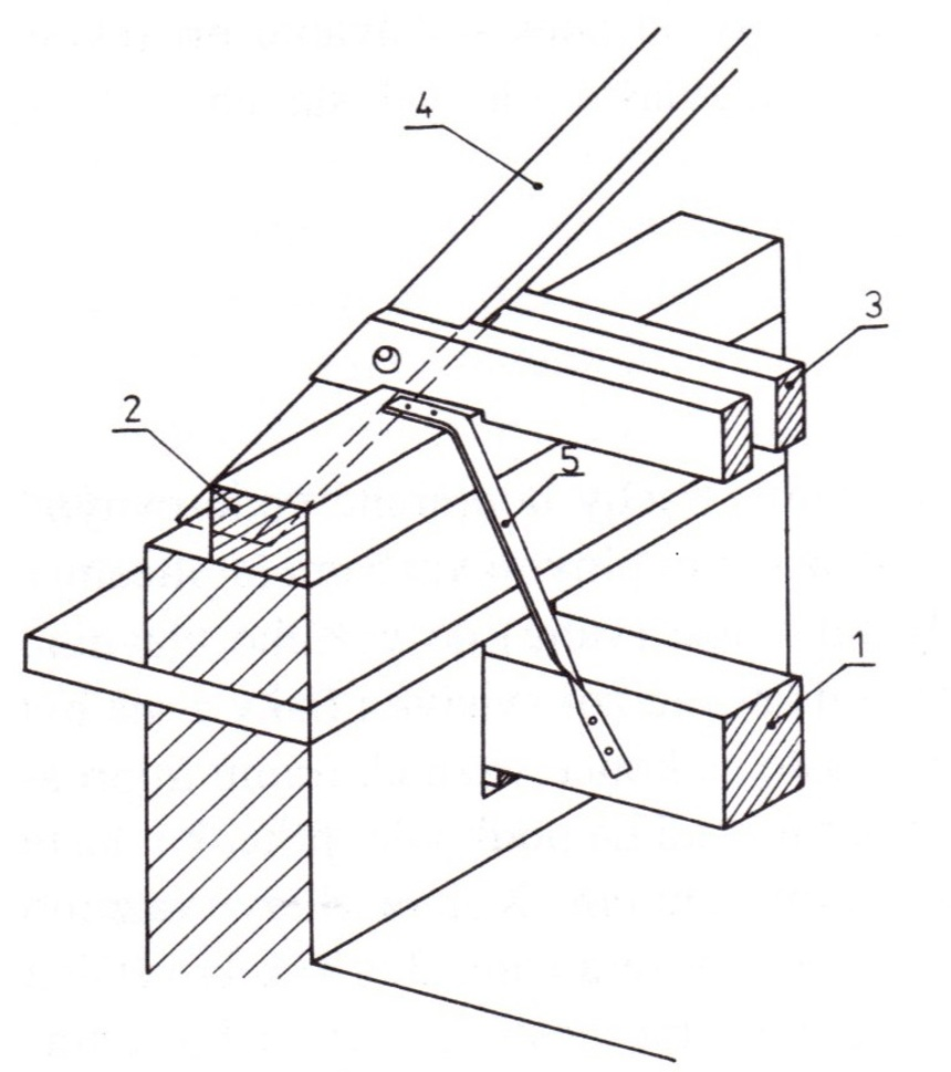 Uložení vazního trámu do nosné zdi: 1 - vazní trám, 2 -pozednice, 3 - kleštiny, 4 - krokev, 5 - kotevní železo