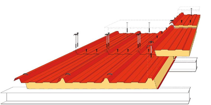 Schéma umístění šroubů u panelu Kingspan KS1000 RW