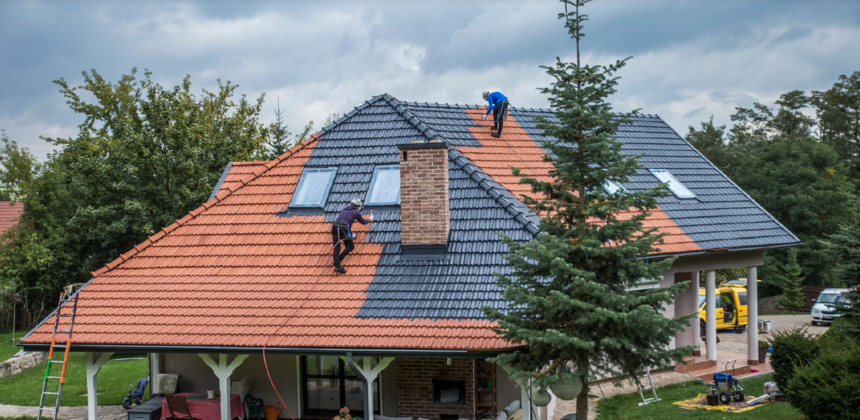 Pohled na dům z dálky při procesu impregnace