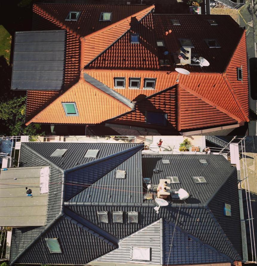 Renovace střechy - před a po