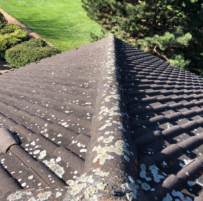 Pohled ze střechy dolů před impregnací
