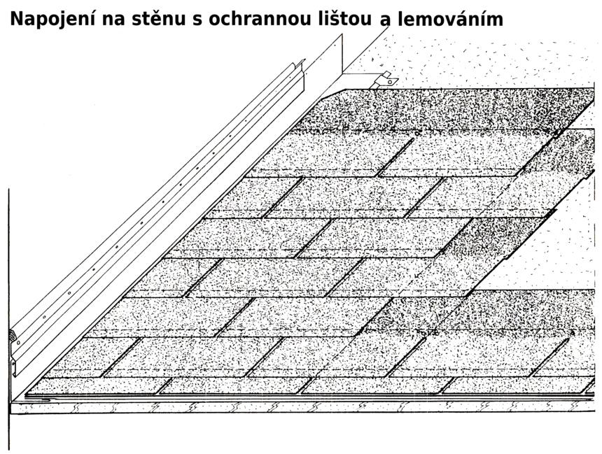 Napojení na stěnu s ochrannou lištou a lemováním