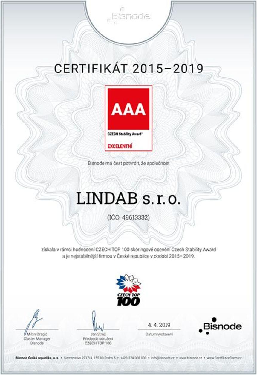Certifkát AAA nejstabilnější firma - Lindab