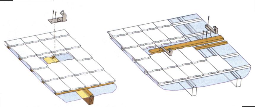 Uchycení střešních háků na krokev a za montážní fošnu