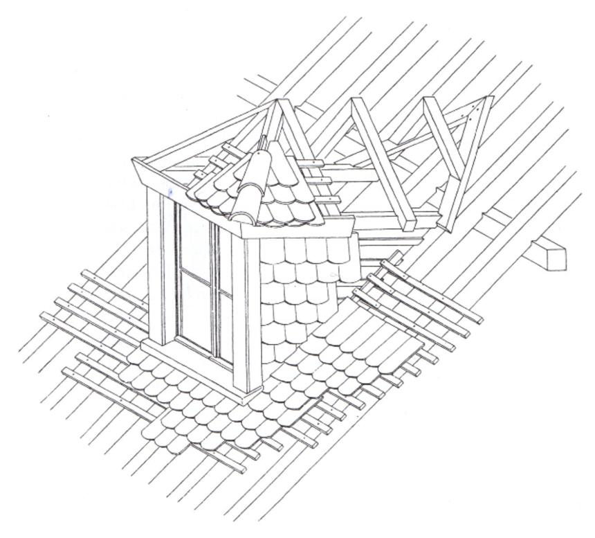vikýř klasické konstrukce, přes dvě krokvová pole