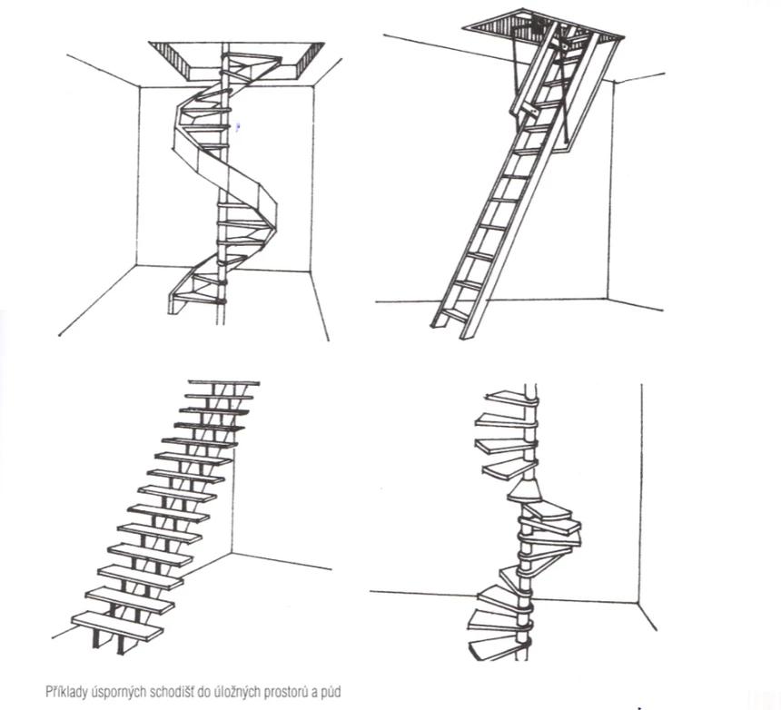 Příklady úsporných schodišť do úložných prostorů a půd