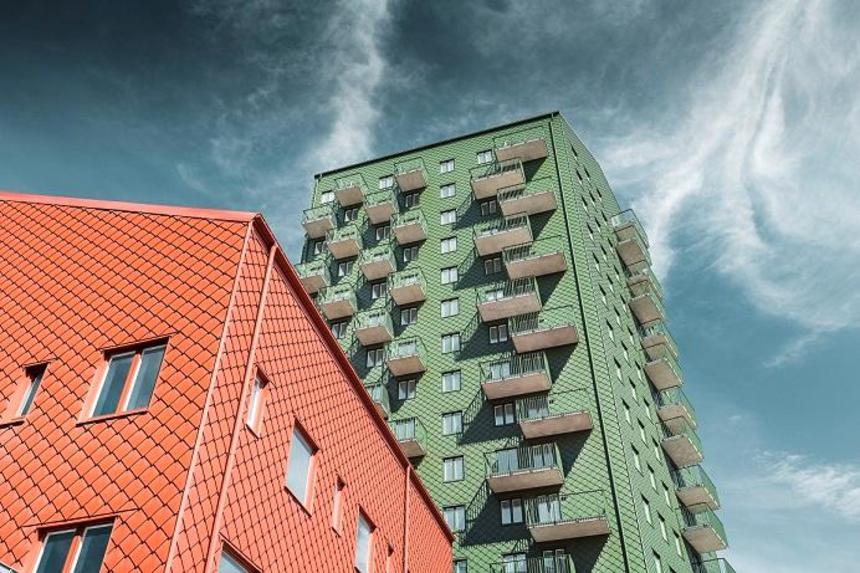 PREFA fasádní šablona 29 × 29 na výškových budovách