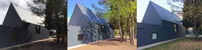 Hliníková dřevostavba - léto, zima, černobílý