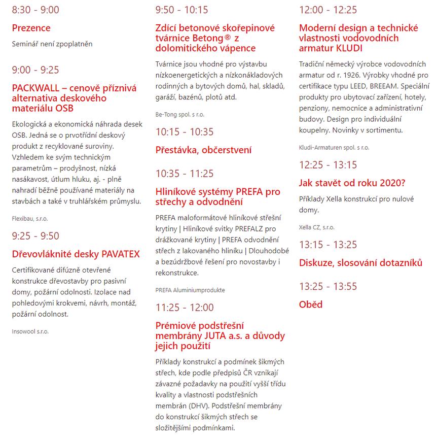 Program Semináře: Materiály a technologie ve stavebnictví 2020 - Zlín
