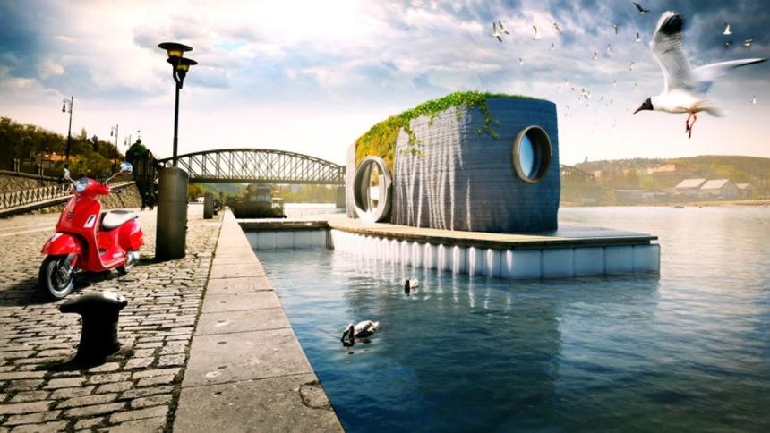 Celá stavba bude ukotvená na vodě