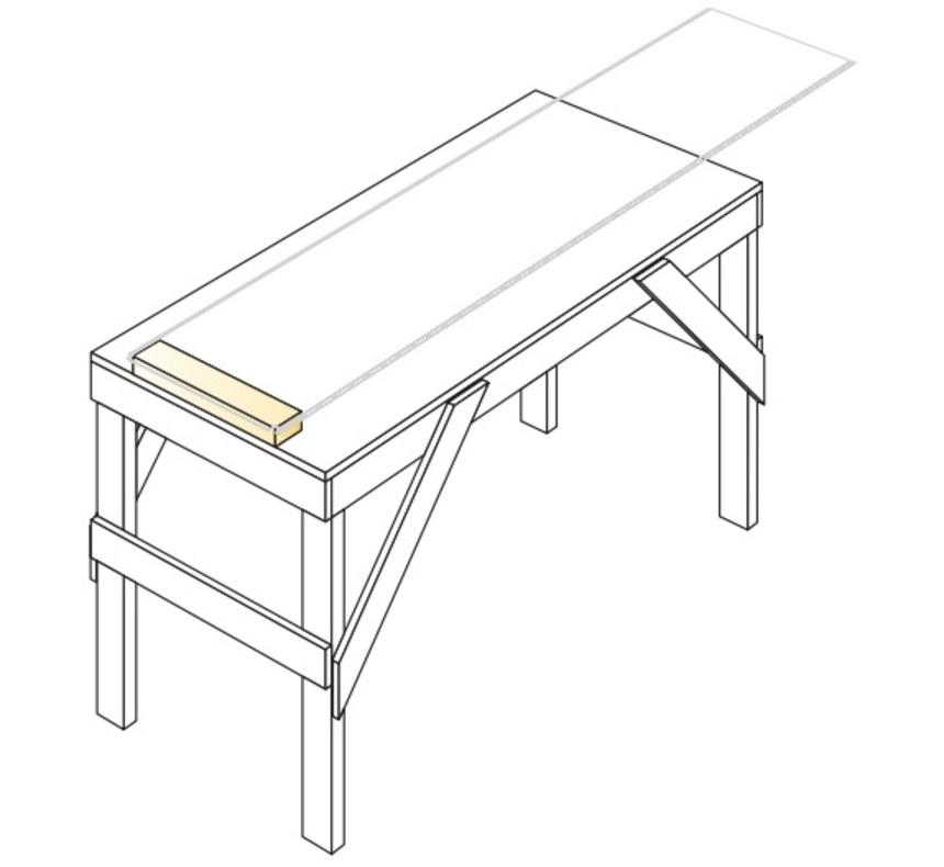Pracovní stůl pro přípravu montáže plechové šablony