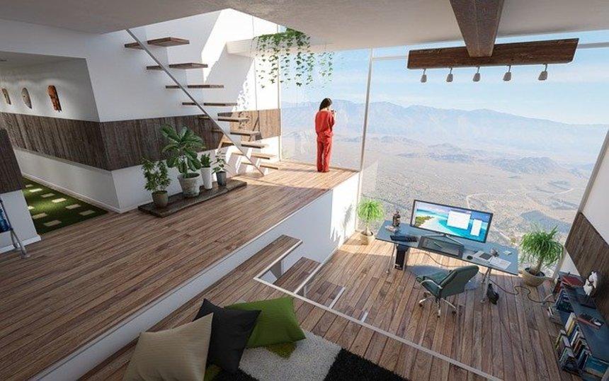 Moderní interiér budovy budoucnosti