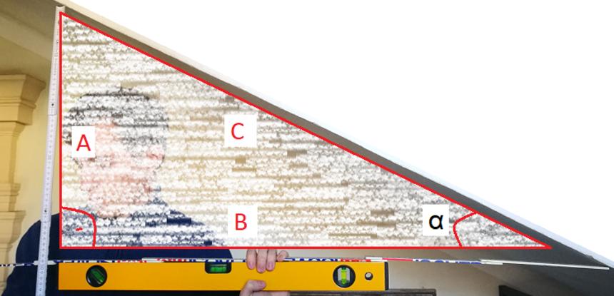Měření sklonu s vodováhou pomocí goniometrických funkcí