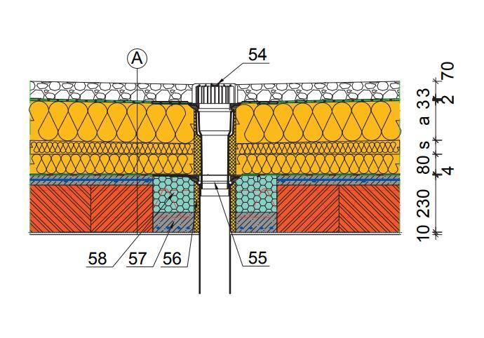 detail tepelného mostu u vpusti na terase