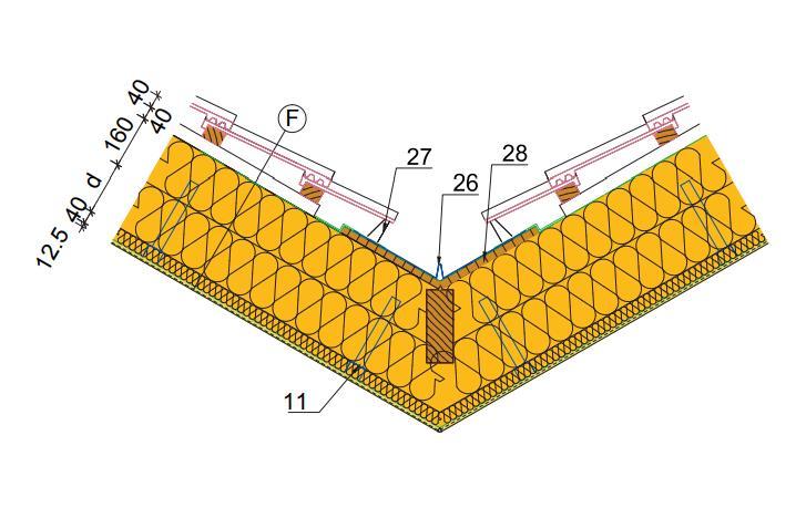 detail podkrokevní izolace v úžlabí u šikmé střechy