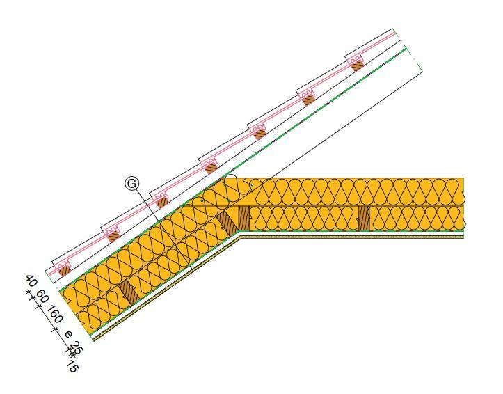 detail šikmé střechy se zateplenými hambalky