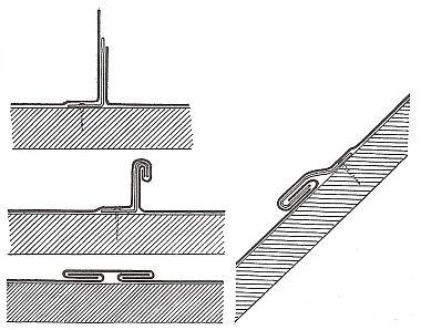 Příponku z tlustého měděného plechu pro olověnou krytinu drážkovanou a dilatační lišta