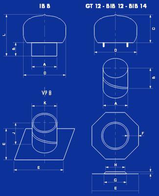 Lomanco, odvětrávací turbíny, schéma technických parametrů