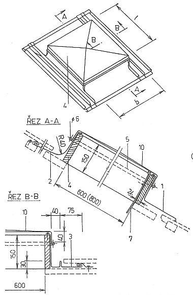 Střešní poklop s úpravou pro napojení na tvrdou krytinu