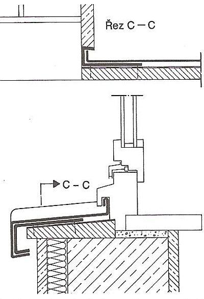 Oplechování okenního parapetu s dřevěným okenním rámem