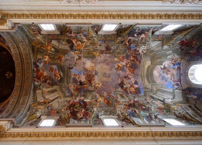 Freska stropu římského kostela svatého Ingáce z Loyoly