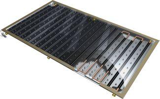Grada, Schematický řez plochým vakuovým solárním kolektorem, zdroj: Thermosolar